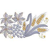 """Схемы для вышивки ручной работы. Ярмарка Мастеров - ручная работа Дизайн машинной вышивки """"Виноград и пшеница"""". Handmade."""