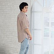 Одежда handmade. Livemaster - original item Linen lightweight striped beige blouse shirt. Handmade.
