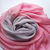 Аксессуары ручной работы. Ярмарка Мастеров - ручная работа Шарф Персидская роза шелковый розовый серый. Handmade.