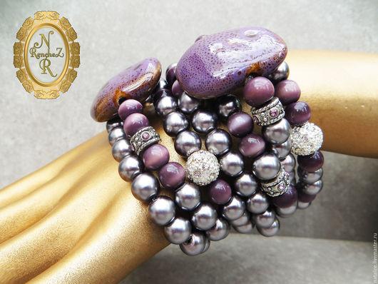 Многослойный браслет `Магия лилового...` Керамика с глазурью, `кошачий глаз`, искусственный жемчуг(стекло). Как и все мои работы, создан в единственном экземпляре. повтор невозможен)