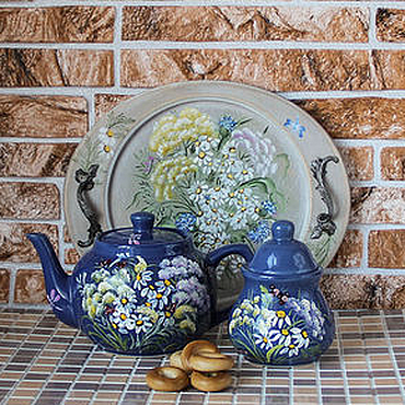 Tableware handmade. Livemaster - original item Set ceramic teapot and sugar bowl with painting