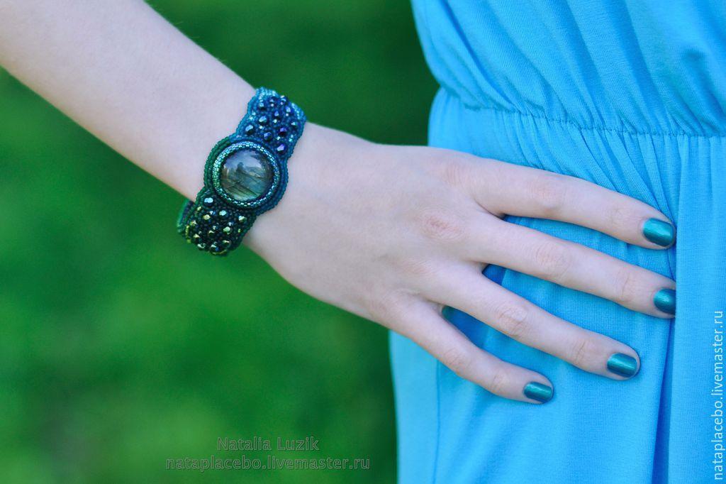 Beaded bracelet labradorite Night forest green blue, Hard bracelet, St. Petersburg,  Фото №1