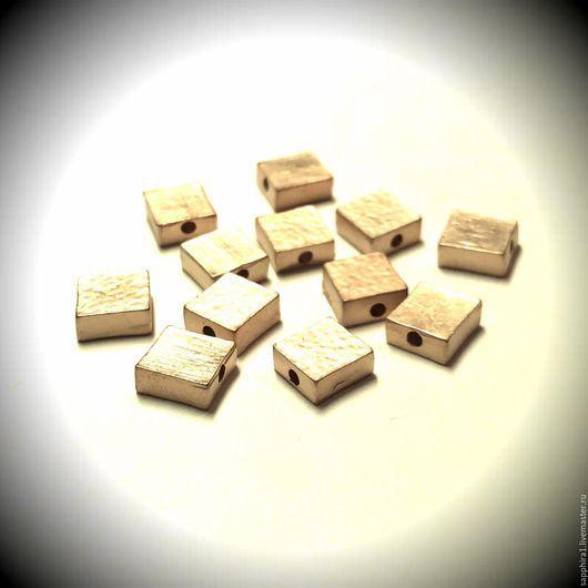 Для украшений ручной работы. Ярмарка Мастеров - ручная работа. Купить Бусина позолоченная квадратная matt gold plated Южная Корея. Handmade.