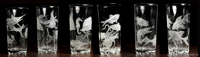 Набор стаканов 6 шт., водная жизнь, гравировка стекла, Стаканы, Югорск, Фото №1