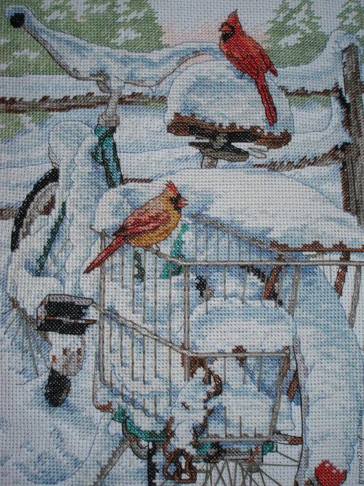 """Пейзаж ручной работы. Ярмарка Мастеров - ручная работа. Купить Вышитая картина """"Велосипедные птицы"""". Handmade. Голубой, крест"""