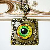 Украшения handmade. Livemaster - original item A pendant with a picture - yellow-green. Handmade.