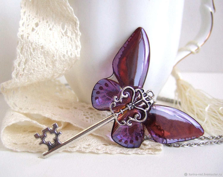 Transparent key Pendant Purple Butterfly Vintage Key chain 2, Pendants, Taganrog,  Фото №1