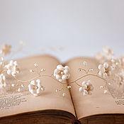 Свадебный салон ручной работы. Ярмарка Мастеров - ручная работа 52 Венок на голову из цветов. Бохо. Свадебная тиара. Бежевый. Handmade.