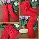 """Обувь ручной работы. Ярмарка Мастеров - ручная работа. Купить Сапоги-угги """" Simply Red"""". Handmade. Ярко-красный"""