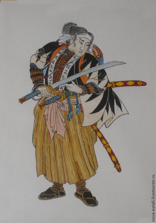 Люди, ручной работы. Ярмарка Мастеров - ручная работа. Купить Самурай. Handmade. Разноцветный, Самурай, япония, японская гравюра, акварель