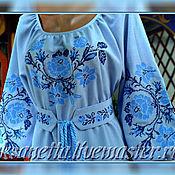 """Одежда handmade. Livemaster - original item Платье-вышиванка """"Голубые розы с лилиями"""". Handmade."""