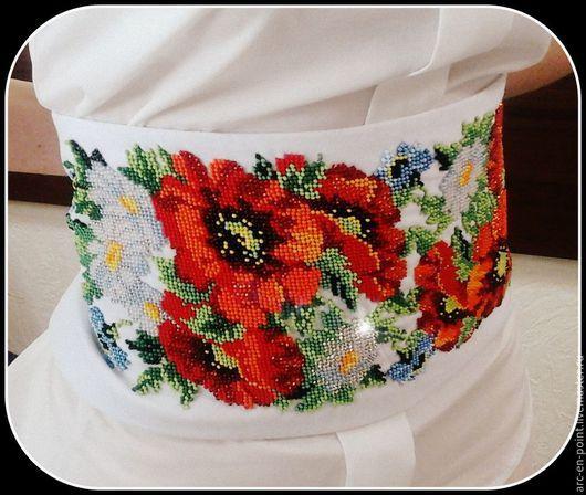 """Пояса, ремни ручной работы. Ярмарка Мастеров - ручная работа. Купить Пояс-корсет """"Квітковий розмай"""". Handmade. Белый"""