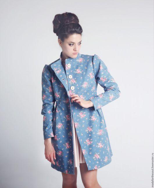 Верхняя одежда ручной работы. Ярмарка Мастеров - ручная работа. Купить Пальто. Handmade. Голубой, пальто, пальто в цветочек, вискоза