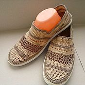 Обувь ручной работы handmade. Livemaster - original item Espadrilles: Sleepers mens Beige - Cocoa. Handmade.