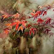 Картины и панно handmade. Livemaster - original item Red leaves hunting watercolor painting. Handmade.