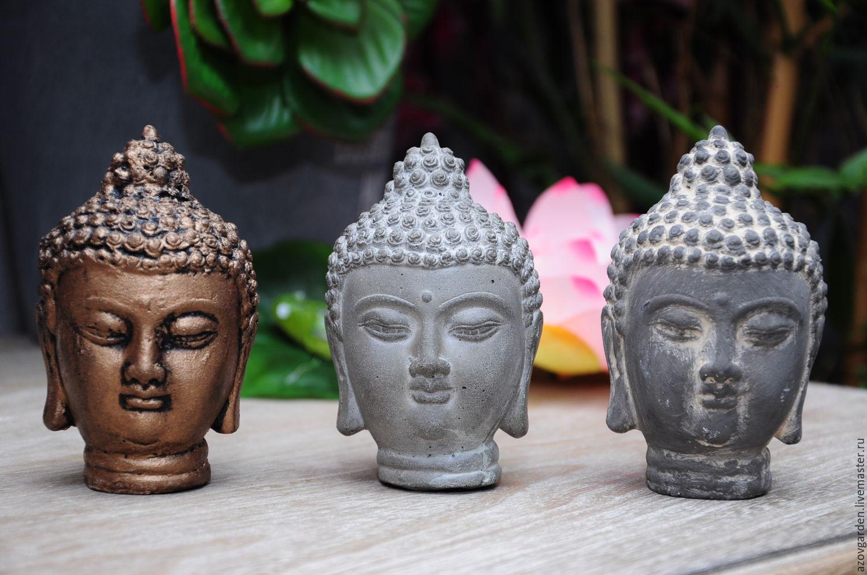 Decor Concrete Azov Figurines Handmade. Buddha Head Concrete Small For  Floriana Mini Garden. Decor Concrete Azov