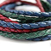 Материалы для творчества ручной работы. Ярмарка Мастеров - ручная работа Шнур кожаный плетеный  натуральная кожа 3,5 - 4 - 5 мм. Handmade.