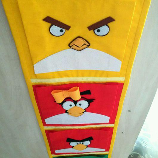"""Детская ручной работы. Ярмарка Мастеров - ручная работа. Купить Кармашки для детского сада """"Angry birds"""". Handmade. Кармашек, дети"""