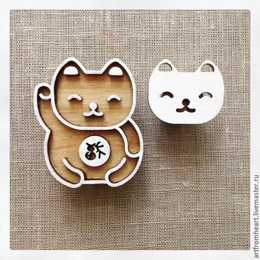 Другие виды рукоделия ручной работы. Ярмарка Мастеров - ручная работа. Купить Штамп для печати на ткани LUCKY CAT. Handmade.