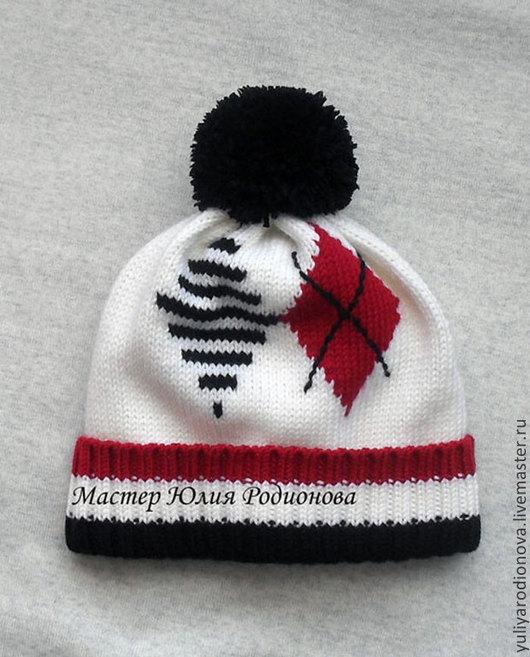 Шапки и шарфы ручной работы. Ярмарка Мастеров - ручная работа. Купить Зимняя шапочка для мальчика. Handmade. Белый, в полоску