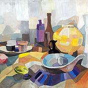 Картины и панно ручной работы. Ярмарка Мастеров - ручная работа Натюрморт с желтой вазой и черным кувшином. Handmade.