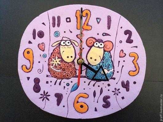 """Часы для дома ручной работы. Ярмарка Мастеров - ручная работа. Купить Часы """"Барашки на качелях"""". Handmade. Новый год 2015"""