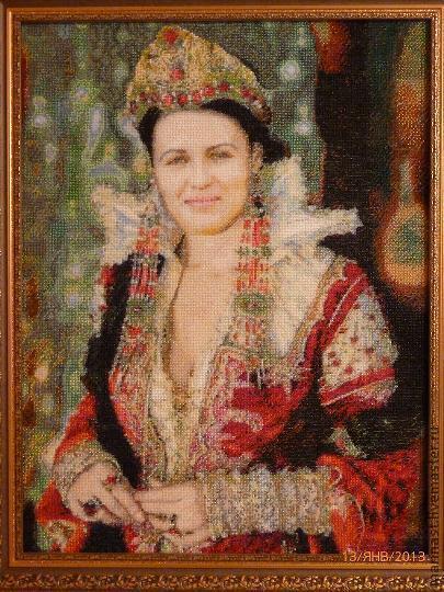 Люди, ручной работы. Ярмарка Мастеров - ручная работа. Купить Портрет вышитый чешским бисером. Handmade. Ярко-красный