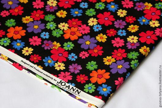 Американский хлопок. Яркие цветы на черном.Joann fabric. Ткань для рукоделия. Для пэчворка, для скрапизделий