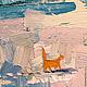 Картина с кошкой котом Зимний деревенский пейзаж Картина импрессионизм Купить картину маслом зима