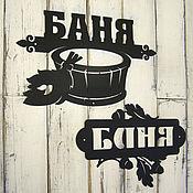 Аксессуары ручной работы. Ярмарка Мастеров - ручная работа Большие металлические таблички Баня. Handmade.