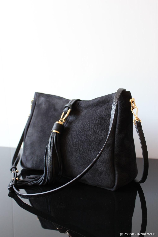 4e75126a1562 Купить Черная замшевая сумка, Женские сумки ручной работы. Черная замшевая  сумка, Boheme style, с кисточкой, ...