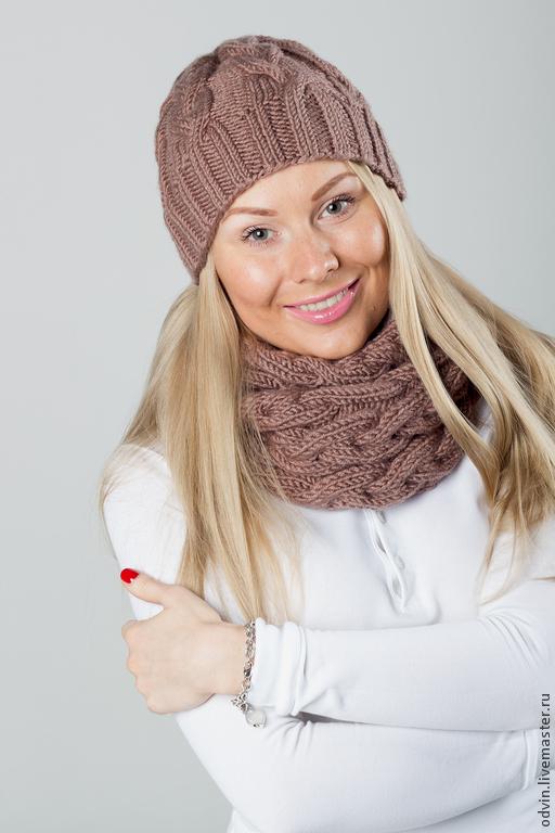 """Комплекты аксессуаров ручной работы. Ярмарка Мастеров - ручная работа. Купить Комплект вязаный """"Какао"""", шарф снуд вязаный и шапка вязаная. Handmade."""