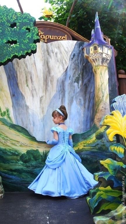 Голубое нарядное бальное платье маленькая принцесса Золушка Карнавальный костюм Наряд принцессы Новогодний костюм Новогодний карнавальный костюм