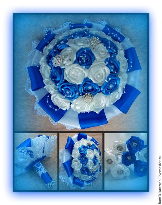 Свадебные украшения ручной работы. Ярмарка Мастеров - ручная работа. Купить Свадебный букет. Handmade. Тёмно-синий, лента из страз