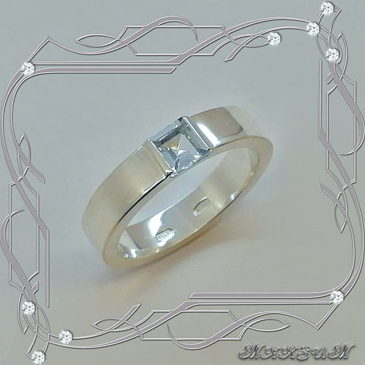 Ring 'Smooth square' silver 925, Topaz, Rings, St. Petersburg,  Фото №1