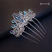 Украшения handmade. Livemaster - original item Wedding comb of the bride with stones blue