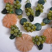 Украшения handmade. Livemaster - original item 2нити NECKLACE+EARRINGS olive JADE, Jasper, AVENTURINE, prehnite.. Handmade.