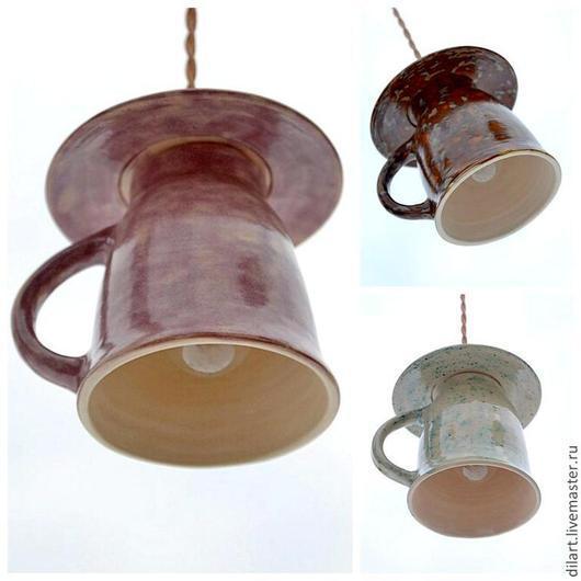 Освещение ручной работы. Ярмарка Мастеров - ручная работа. Купить Светильник керамический люстра потолочная для кухни Чайная Чашка. Handmade.