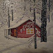 """Картины и панно ручной работы. Ярмарка Мастеров - ручная работа Картина """"Хижина в зимнем лесу"""". Handmade."""