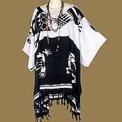Одежда ручной работы. Ярмарка Мастеров - ручная работа Бело-чёрная туника ЭТНИКА  платье, батик, свободный летний оверсайз. Handmade.