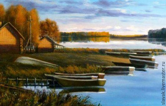 Пейзаж ручной работы. Ярмарка Мастеров - ручная работа. Купить Картина маслом.Пейзаж.Вечер на озере. Handmade. Бледно-розовый