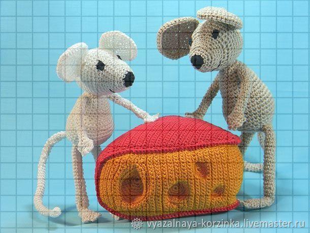 Набор мягких вязаных игрушек «Два мышонка с сыром», Кукольная еда, Краснодар,  Фото №1