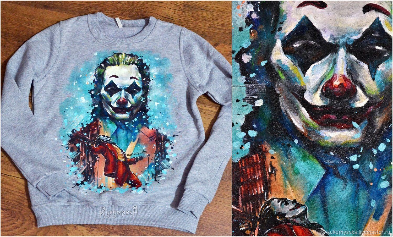 """Свитшот """"Джокер"""" (Хоакин Феникс) с ручной росписью, Свитшоты, Москва,  Фото №1"""