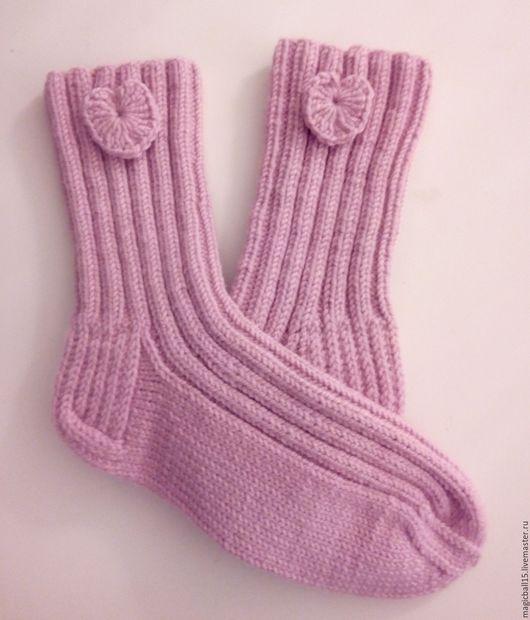 Носки, Чулки ручной работы. Ярмарка Мастеров - ручная работа. Купить Носки вязаные. Роза. Handmade. Розовый