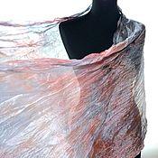 Аксессуары handmade. Livemaster - original item Scarf gray pink coral pressed silk women`s long. Handmade.