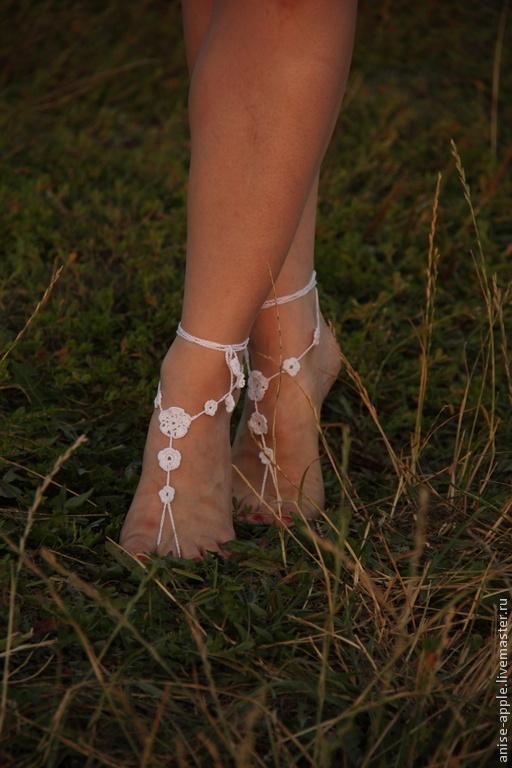 """Обувь ручной работы. Ярмарка Мастеров - ручная работа. Купить """"Tender summer"""", босые сандалии. Handmade. Белый, бохо украшения"""