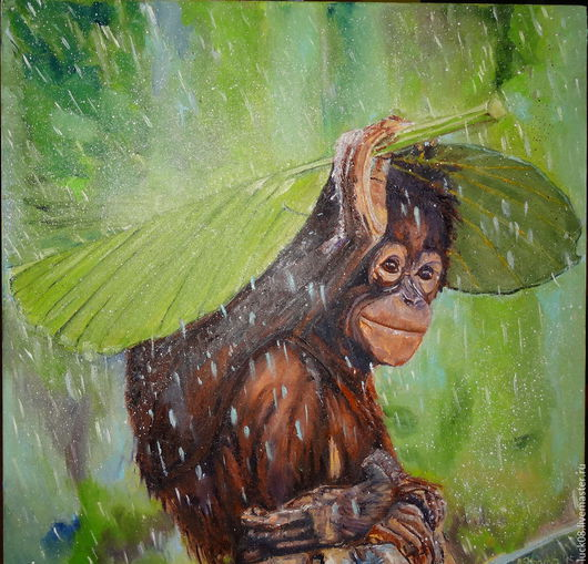 """Животные ручной работы. Ярмарка Мастеров - ручная работа. Купить """"Летний дождь"""". Handmade. Картина в подарок, радость, картина на холсте"""