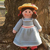 Куклы и игрушки ручной работы. Ярмарка Мастеров - ручная работа Кукла. Вязаная кукла из шерсти  В голубом. Handmade.