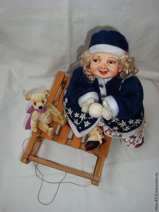 """Коллекционные куклы ручной работы. Ярмарка Мастеров - ручная работа. Купить Фарфоровая кукла """"Зимние забавы"""". Handmade. Тёмно-синий"""