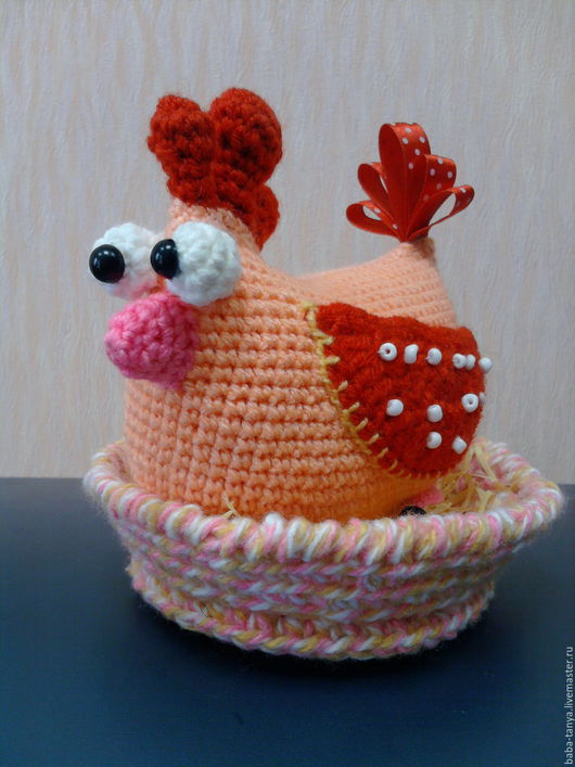 Игрушки животные, ручной работы. Ярмарка Мастеров - ручная работа. Купить Веселая курочка. Handmade. Оранжевый, курочка, подарок, птица